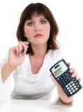 Mooie Jonge Vrouw met de Pen en de Calculator van de Inkt royalty-vrije stock foto