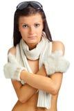Mooie jonge vrouw met de winterkleren stock foto