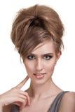 Mooie jonge vrouw met heldere make-up Stock Foto
