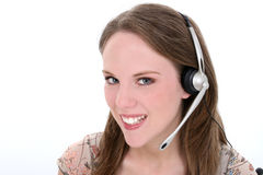 Mooie Jonge Vrouw met Hoofdtelefoon over Wit Stock Fotografie