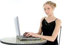 Mooie Jonge Vrouw met Laptop Stock Afbeelding