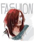Mooie jonge vrouw met rood haar De schets van de manier De make-up van Face Hand-drawn mannequin stock illustratie