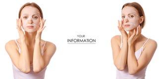 Mooie jonge vrouw op de schoonheids vastgesteld patroon van het gezichtsmasker royalty-vrije stock fotografie