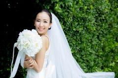 mooie jonge vrouw op huwelijksdag in witte kleding in de boommuur Vrouwelijk portret in het park Stock Afbeeldingen