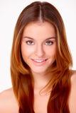 Mooie jonge vrouw op wit Stock Foto's