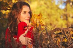 Mooie jonge vrouw in rode sweater in de herfstpark stock afbeeldingen