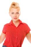 mooie jonge vrouw in speld-omhooggaande stijl royalty-vrije stock foto's