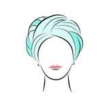 Mooie jonge vrouw in turkooise tulband Vector in hand de tekeningsstijl van de manierschets voor uw ontwerp EPS10 Royalty-vrije Stock Afbeelding