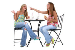 Mooie Jonge Vrouwen die Lunch hebben samen Stock Foto's
