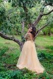 Mooie jonge womanis die zich dichtbij de boom bevinden Stock Foto