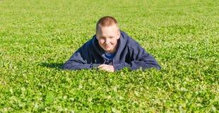 Mooie jongen die op het verse gras liggen Stock Foto's
