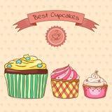 Mooie kaart beste cupcakes Royalty-vrije Stock Fotografie