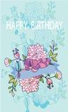 Mooie kaart met een verjaardag Stock Afbeelding