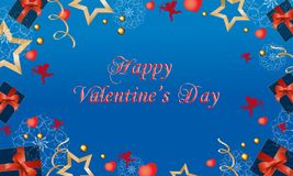Mooie kaart met leuke engelen en harten op de Dag van Valentine Vector illustratie royalty-vrije illustratie