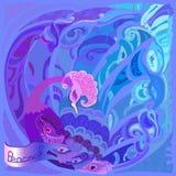Mooie kaart met pauw Blauw, violet en lilac ontwerp Royalty-vrije Stock Foto