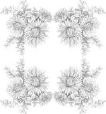 Mooie kaart met rechthoekig van verschillende bloemen van uitstekende tuin Huwelijk, uitstekend concept Royalty-vrije Stock Afbeelding