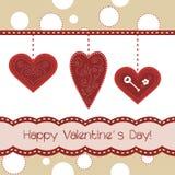 Mooie kaart met 3 rode harten Stock Foto