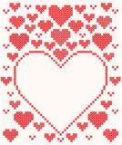 Mooie kaart met rode harten Stock Fotografie