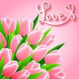 Mooie kaart met tulpenbloemen Stock Afbeelding