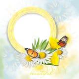 Mooie kaart met vlinders en bloemen Stock Foto
