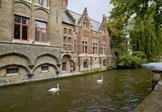 Mooie kanaalmening in Brugge royalty-vrije stock afbeelding