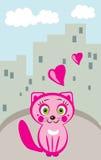Mooie kat in stad Stock Illustratie