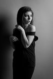 Mooie Kaukasische donkerbruine vrouw Stock Foto's