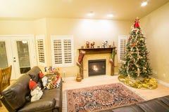 Mooie Kerstboom en open haard met kat het ontspannen op laag royalty-vrije stock afbeeldingen