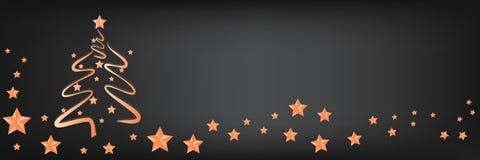 Mooie Kerstboom met sterren op een panoramische achtergrond, exemplaar-ruimte voor tekst vector illustratie