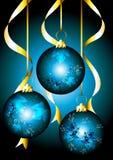Mooie Kerstkaart met blauwe snuisterijen Stock Foto's