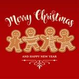 Mooie Kerstkaart met peperkoekfamilie stock illustratie