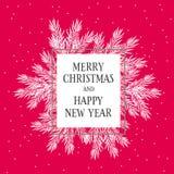 Mooie Kerstmis en van het Nieuwjaar Eve Card Witte Kerstboomtakken vector illustratie
