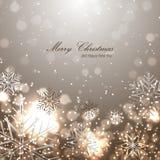 Mooie Kerstmisachtergrond met sneeuwvlokken Stock Afbeelding