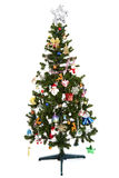 Mooie Kerstmisboom die op witte achtergrond wordt geïsoleerd Stock Foto