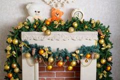 Mooie Kerstmisopen haard Stock Afbeeldingen