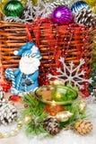 Mooie Kerstmisornamenten als lijstdecoratie De nieuwe kaars van jaarballons Stock Fotografie