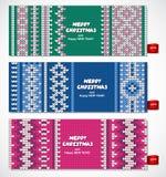 Mooie Kerstmisreeks banners met kant Stock Afbeeldingen