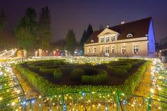 Mooie Kerstmisverlichting bij het park Stock Foto's