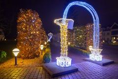 Mooie Kerstmisverlichting bij het park Royalty-vrije Stock Fotografie