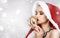 Mooie Kerstmisvrouw Royalty-vrije Stock Foto
