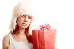 Mooie Kerstmisvrouw Stock Foto's