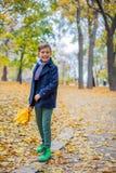 Mooie kindjongen in de de herfstaard stock fotografie