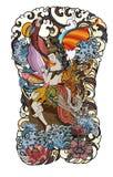 Mooie Kinnaree is Thaise dame met vleugel en watergolf op wolk en maanachtergrond Thaise feestaart met bloem sitdown op rots stock illustratie