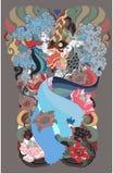 Mooie Kinnaree is Thaise dame met vleugel en watergolf op wolk en maanachtergrond Thaise feestaart met bloem sitdown op rots royalty-vrije illustratie