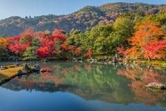 Mooie kleurenbladeren en bezinning in de vijver bij Tenryuji-tempel Stock Afbeelding