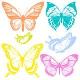 Mooie kleurenvlinders, die op een wit worden geïsoleerd Royalty-vrije Stock Fotografie