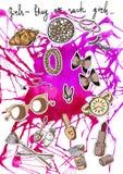 Mooie kleurrijke achtergrond van vrouwelijke dingen - braslet, lippenstift en nagellak Het gezicht van Hand-drawn vrouwen illustr stock illustratie
