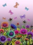 Mooie kleurrijke asterbloemen en heldere vlinders op purpere achtergrond Naadloos BloemenPatroon Het Schilderen van de waterverf stock illustratie