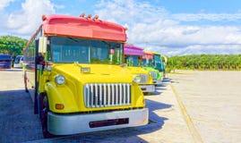 Mooie, kleurrijke bussen die zich op een rij bevinden stock foto's