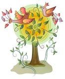 Mooie kleurrijke gelukkige vogels op boom Royalty-vrije Stock Afbeeldingen
